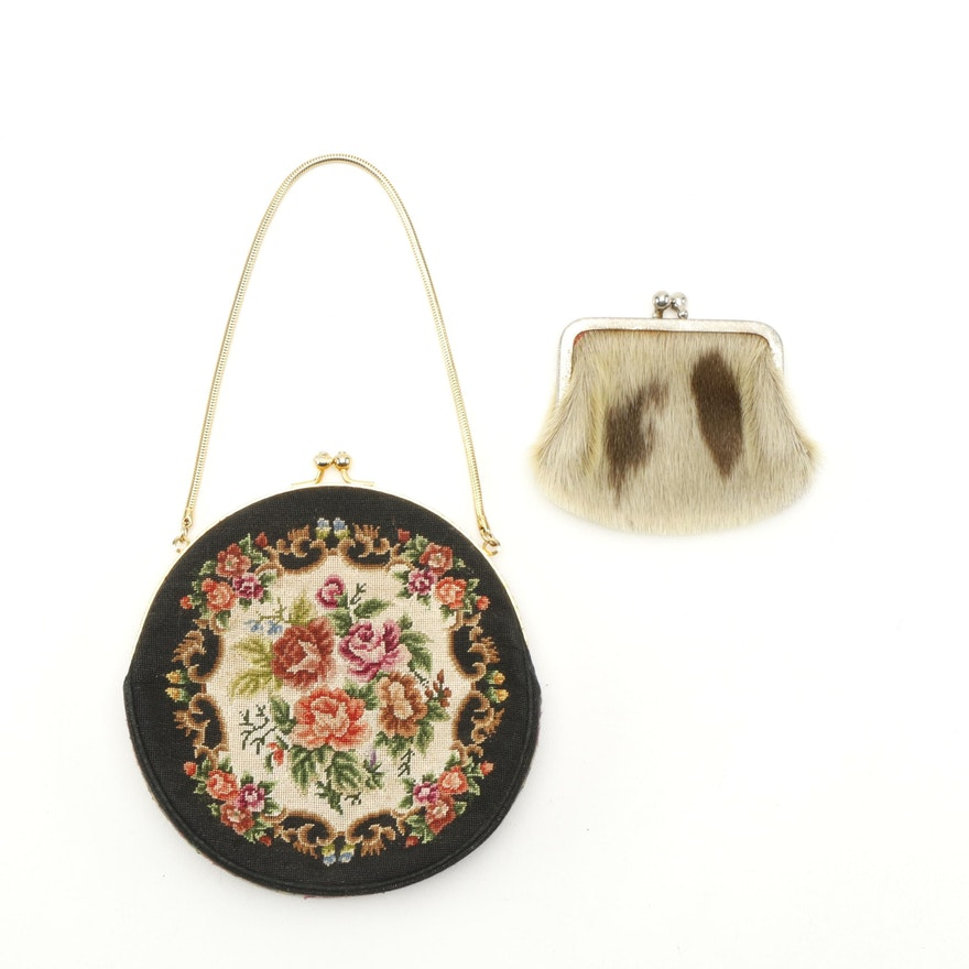 Black Floral Needlepoint Purse with Calf Hair Coin Purse