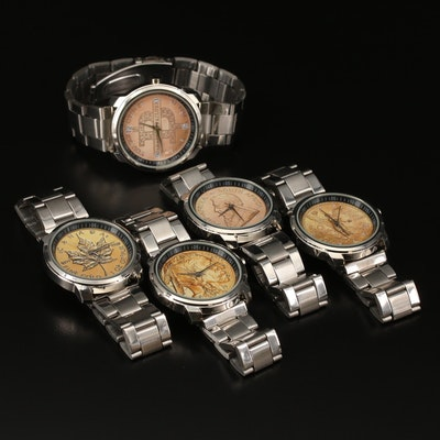 Quartz Wristwatch Collection with Replicated World Coin Dials