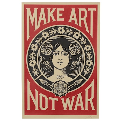 "Shepard Fairey Offset Print Poster ""Make Art Not War,"" 2020"