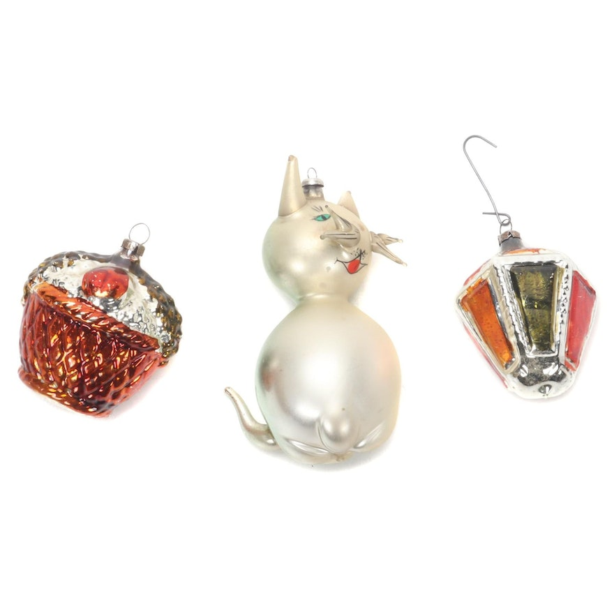 Cat, Acorn and Lantern Glass Christmas Tree Ornaments, Early to Mid 20th Century