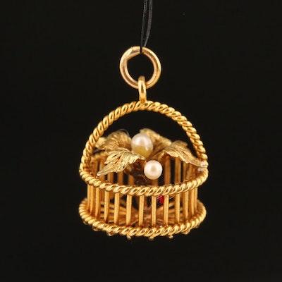 Vintage 14K Pearl Flower Basket Charm