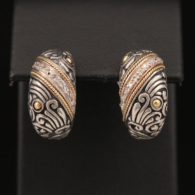EFFY Sterling Diamond Scrollwork Earrings with 18K Accents