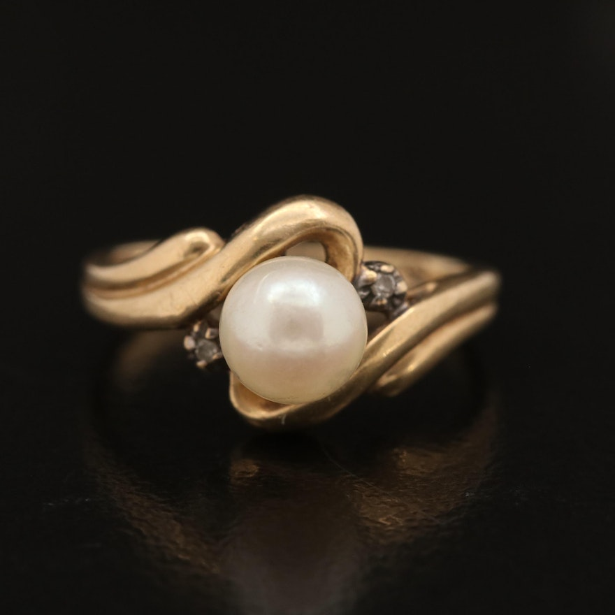 10K Pearl and Diamond Bypass Ring