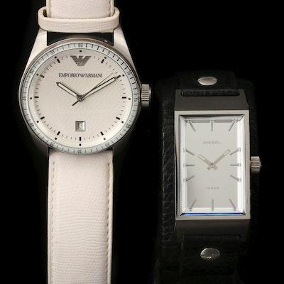 Diesel and Emporio Armani Stainless Steel Quartz Wristwatches