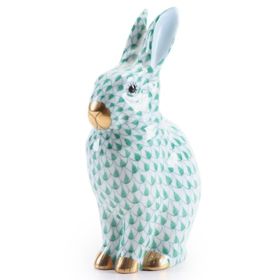 Herend Green Fishnet with Gold Porcelain Rabbit Figurine