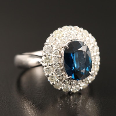 Platinum 3.04 CT Sapphire and Diamond Ballerina Ring