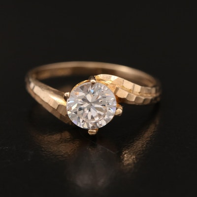 10K Cubic Zirconia Bypass  Ring