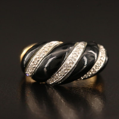 Swarovski 10K Black Onyx and Diamond Twisted Ring