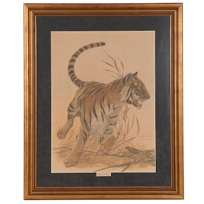 "John A. Ruthven Color Lithograph ""Bengal Tiger,"" Mid to Late 20th Century"