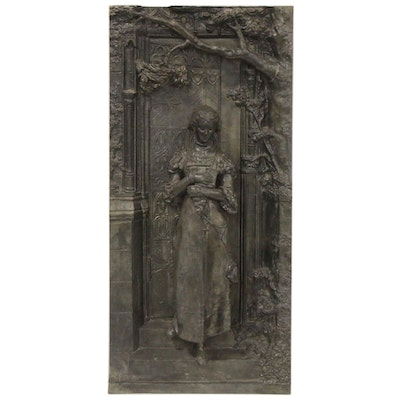 Medieval Style Cast Metal Figural Plaque, 20th Century