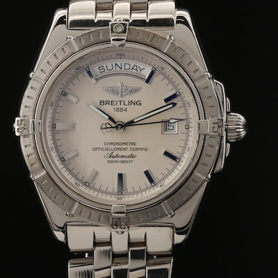 Breitling Headwind Day-Date Stainless Steel Automatic Wristwatch