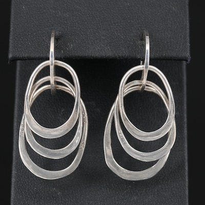 Mexican Sterling Multi-Hoop Dangle Earrings