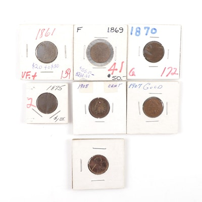 Six Indian Head and 1936 Proof Lincoln Wheat Cent