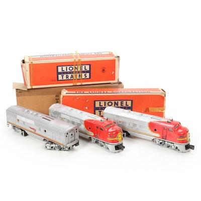 Lionel O Scale 2343 Santa Fe A-B-A Diesel Locomotive Set, Mid-20th Century