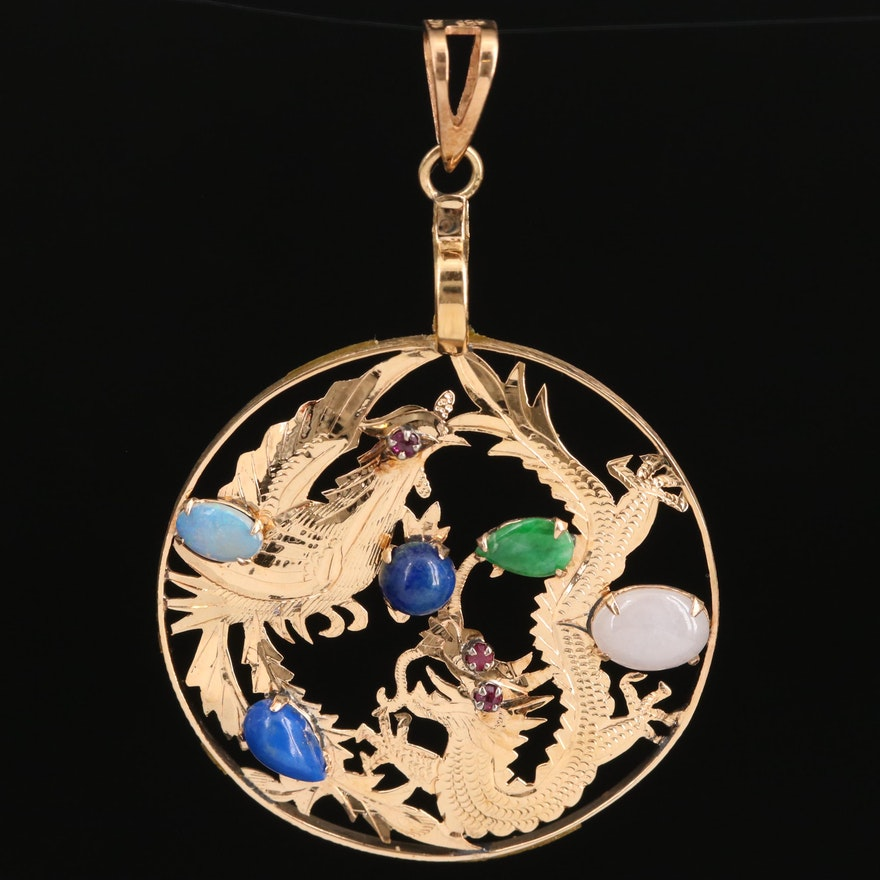 14K Phoenix and Dragon Pendant with Lapis Lazuli, Opal, Jadeite and Ruby
