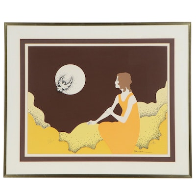 Serigraph of Woman Sitting in Moonlight, Late 20th Century