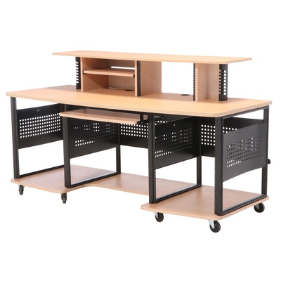 "Studio RTA ""Producer Station"" Steel and Maple Laminate Desk"