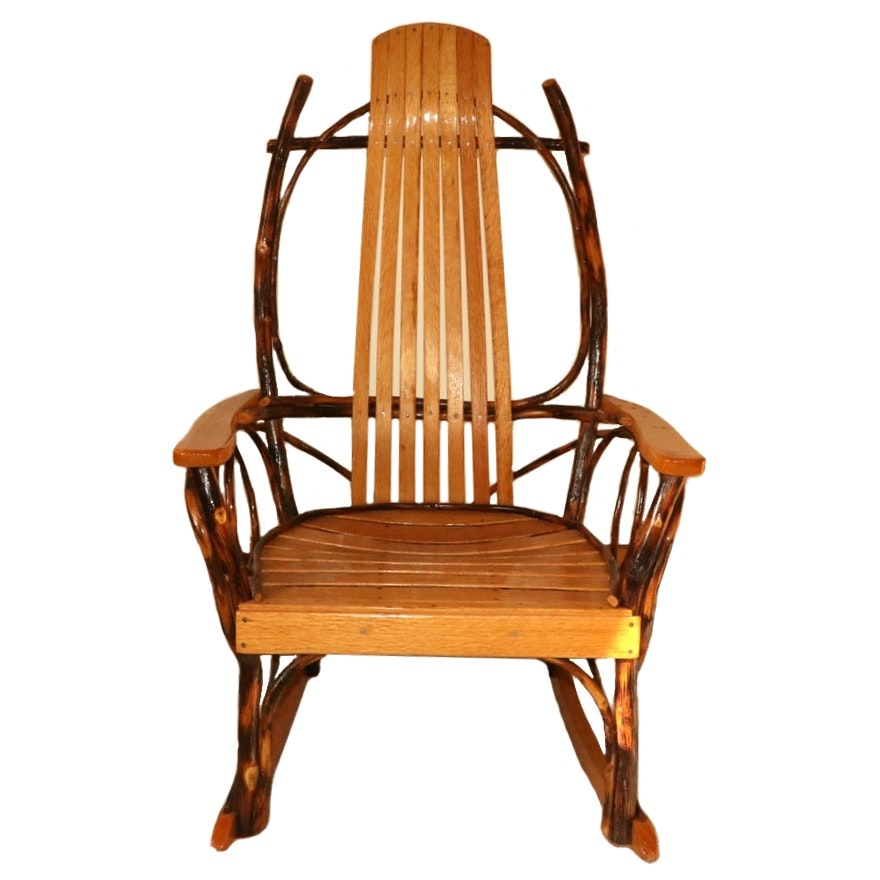 American Primitive Style Bent Twig and Slat Rocking Chair