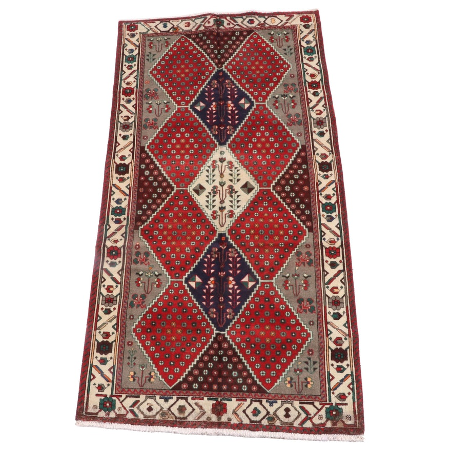 5'0 x 10'6 Hand-Knotted Persian Shiraz Wool Rug