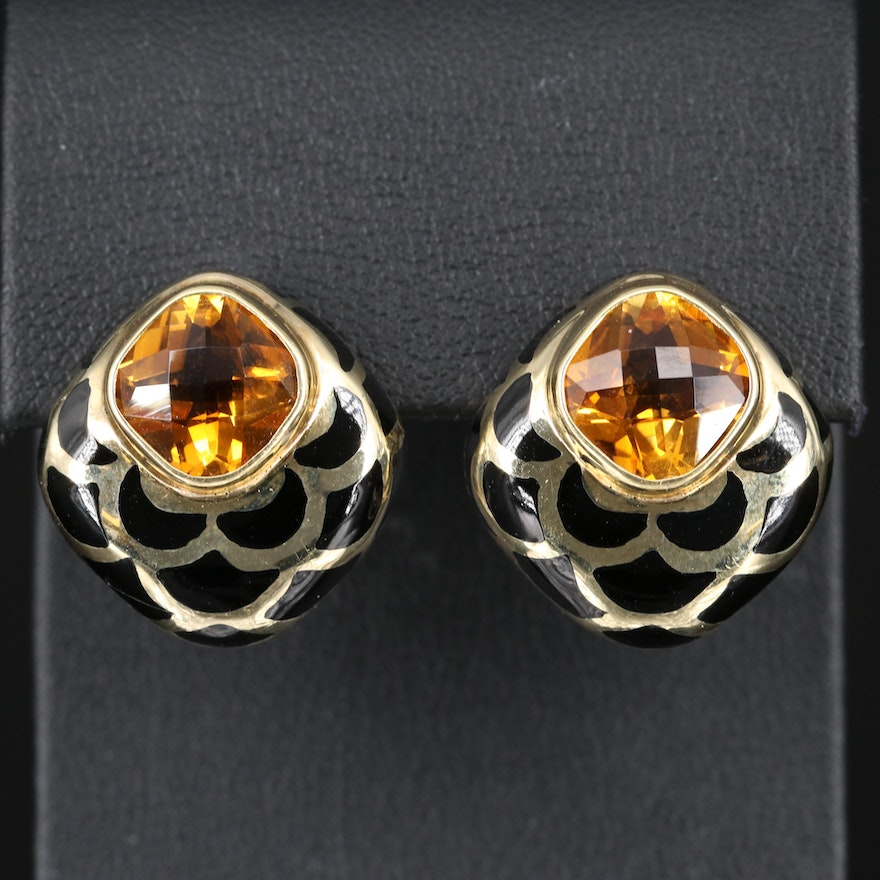 14K Citrine and Champlevé Clip Earrings