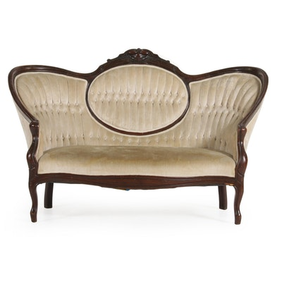 Victorian Walnut Button-Tufted Settee, Late 19th Century