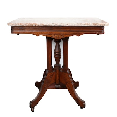 Victorian Eastlake Walnut and Marble Top Parlor Table, Late 19th/Early 20th C.