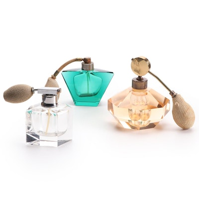 Three Cut Glass Perfume Atomizers. Mid to Late 20th Century