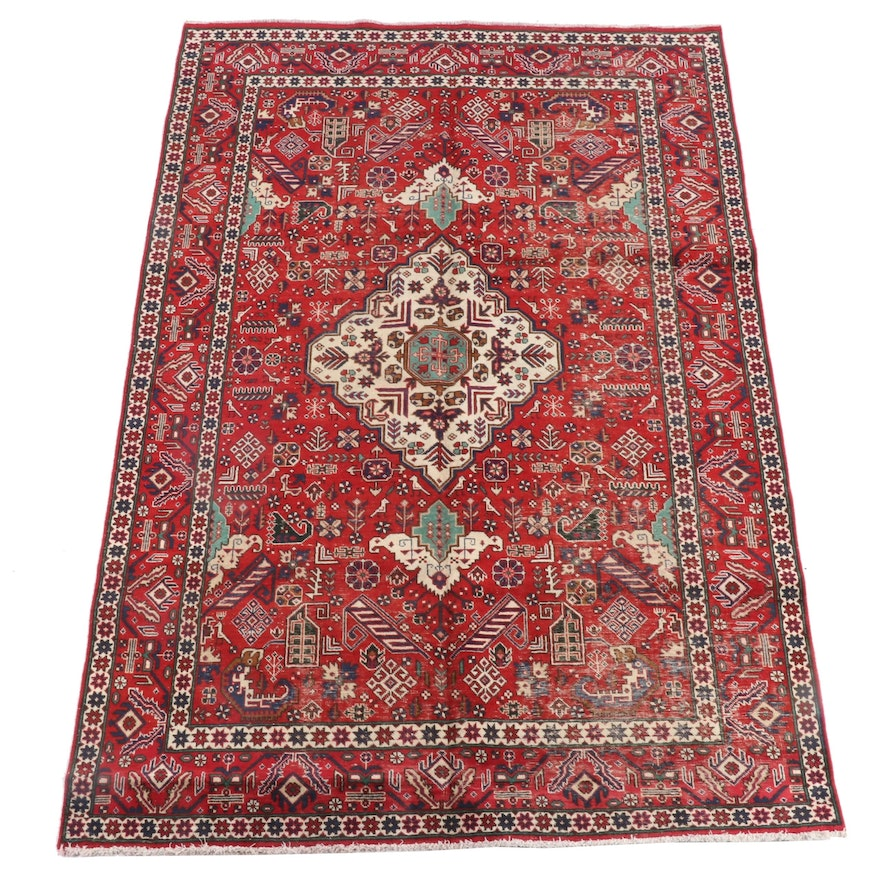 6'4 x 9'7 Hand-Knotted Caucasian Borchalu Wool Rug
