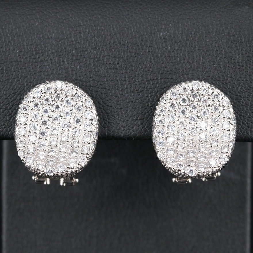 14K Pavé Cubic Zirconia Saddle Earrings