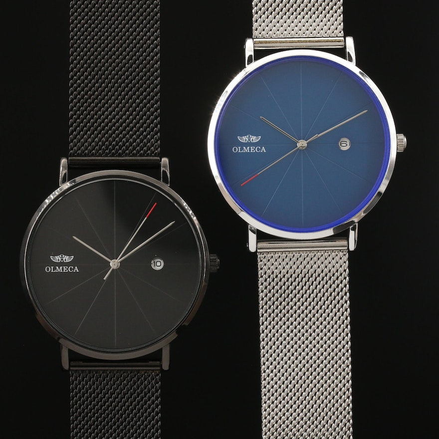 Olmeca Black PVD and Stainless Steel Quartz Wristwatches