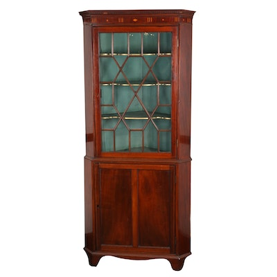 Federal Mahogany and Marquetry Corner Cabinet, Early 19th Century