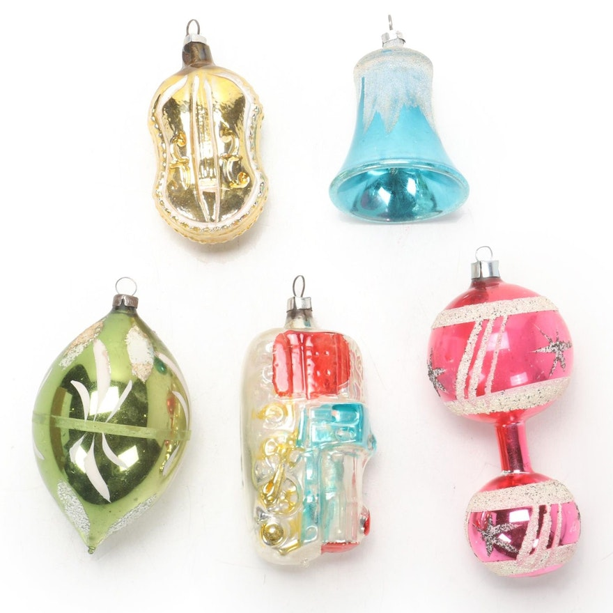 German Hand Painted Glass Christmas Tree Ornaments, Early 20th Century