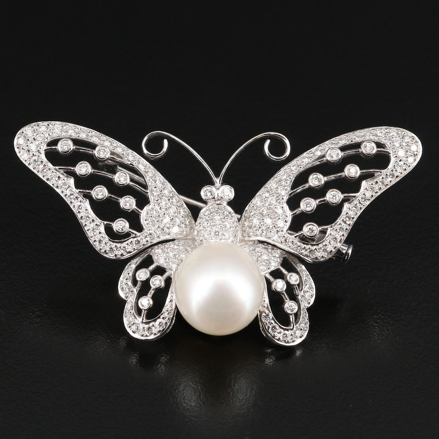 14K Pearl and 1.73 CTW Diamond Butterfly Brooch
