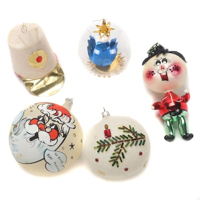 Osu and Other Hand-Painted Glass Christmas Tree Ornaments, 1960s