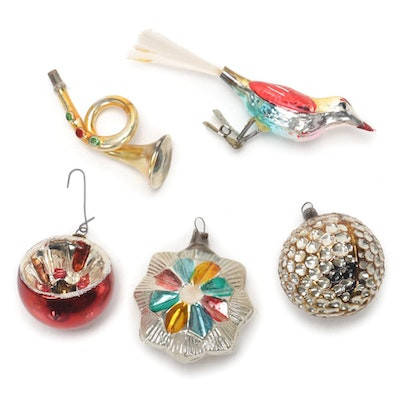 Mercury Glass Bird Clip and Other Christmas Ornaments, Early  20th Century