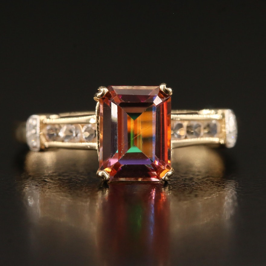 14K Mystic Topaz Ring with Diamond Accents