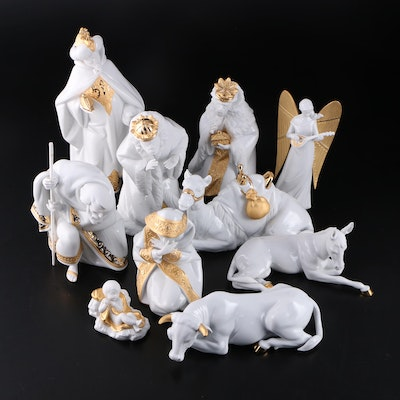 "Lladró Golden Luster Porcelain Nativity Figurines and ""Celestial Joy"" Topper"