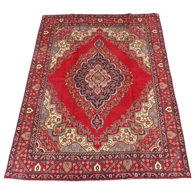 7'10.5 x 11'5 Hand-Knotted Persian Kerman Wool Rug