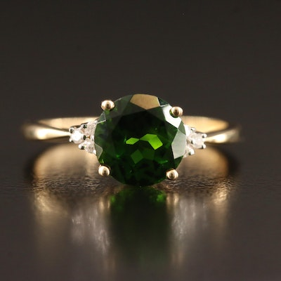 14K Diopside Ring with Diamond Accents