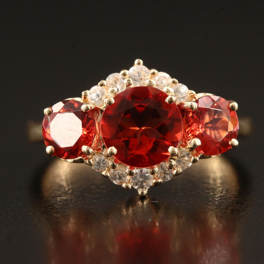 14K  Cubic Zirconia Ring with Topaz Accents