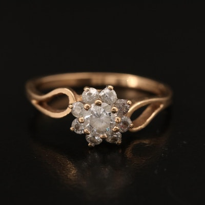 10K Cubic Zirconia Halo Ring