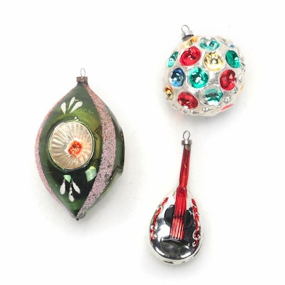 Lute and Other Painted Glass Christmas Tree Ornaments, Mid-20th Century