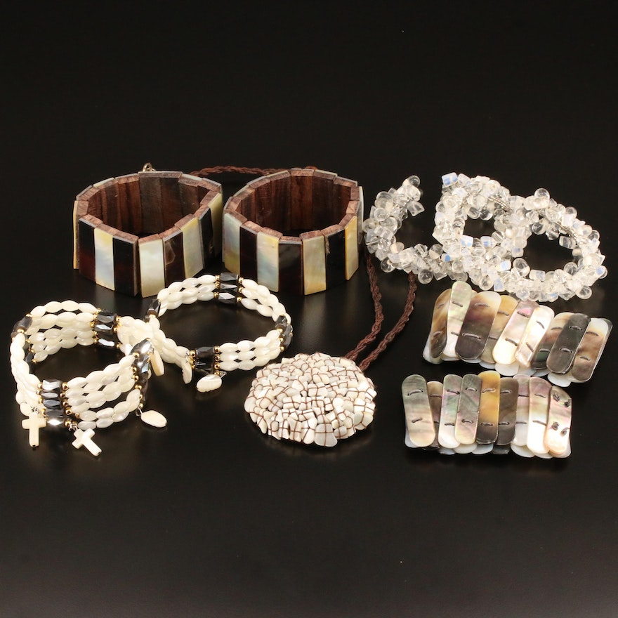 Mother of Pearl, Glass and Faux Hematite Bracelets and Necklace
