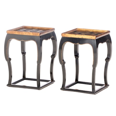 Pair of Chinese Style Lacquered Wood and Parcel-Gilt Occasional Tables