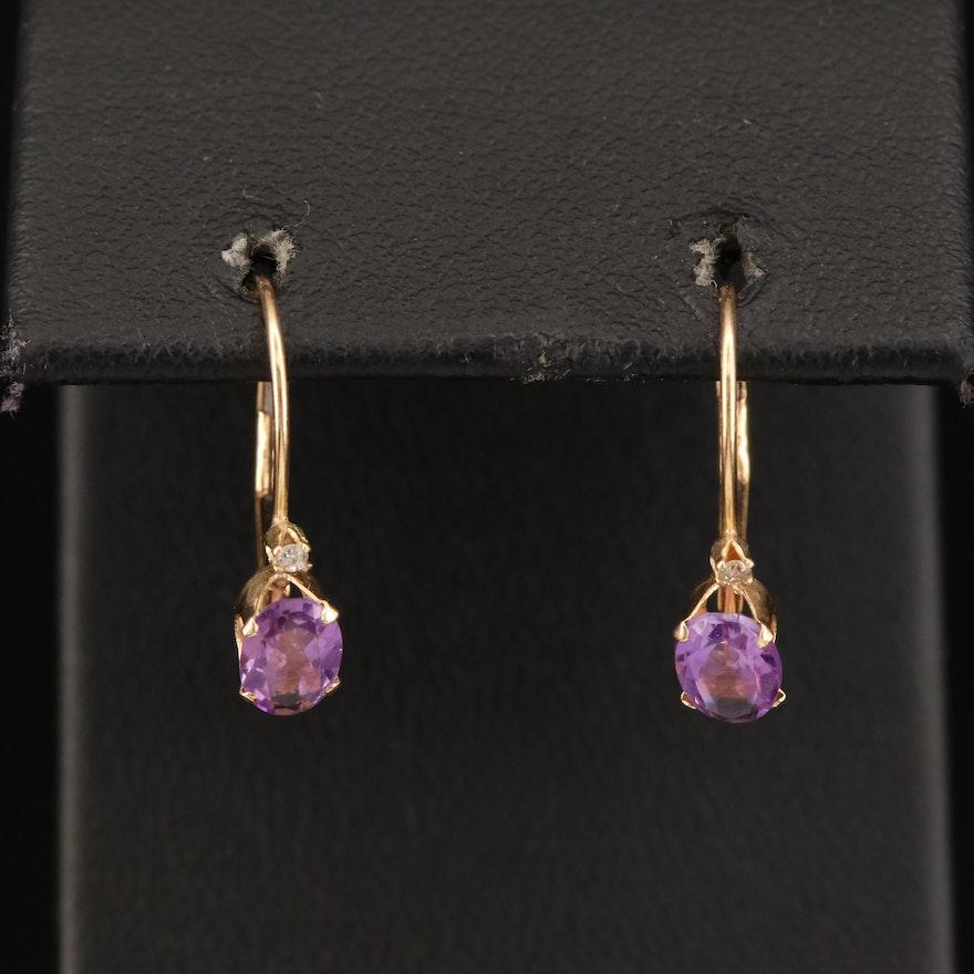 14K Amethyst and Diamond Drop Earrings