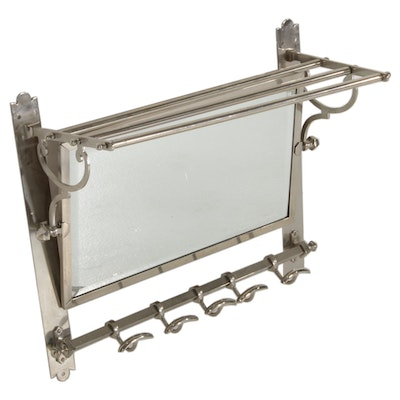 Bathroom Towel Rack with Beveled Wall Mirror Unit