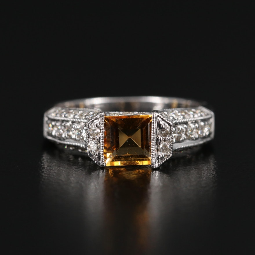14K Citrine and Diamond Ring with Milgraining