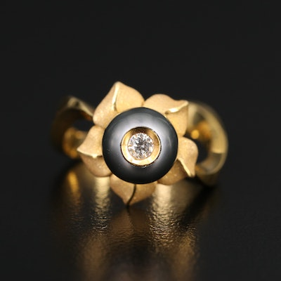 Galatea 14K Diamond and Pearl Flower Ring