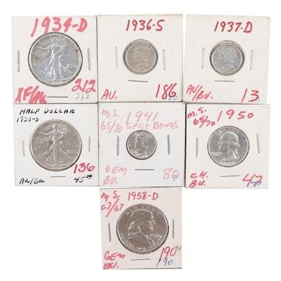 Seven High Grade Vintage U.S. Silver Coins