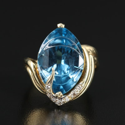 14K 15.16 CT Marquise Topaz and Diamond Ring